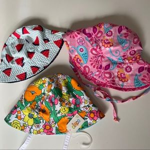 Lot of 3 infant bucket swimming hats reversible